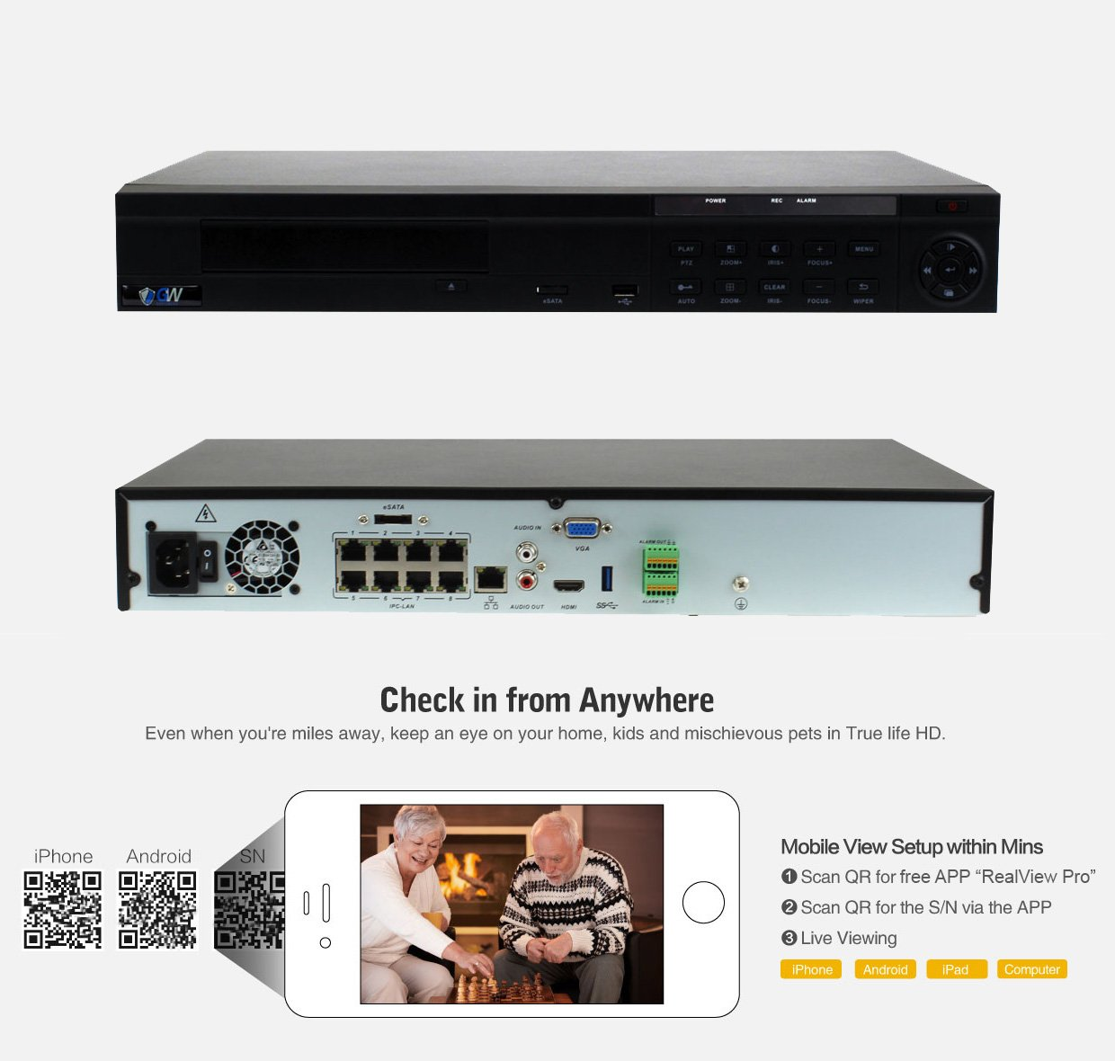 GW Security 8 Channel NVR / Network Video Recorder with 8 ports PoE Switch Built in - Supports Up 8 X 5MP /3MP /2MP 1080P ONVIF IP Cameras @ 30fps Realtime, Quick QR Code Smartphone Access, 2TB HDD by GW Security Inc (Image #2)