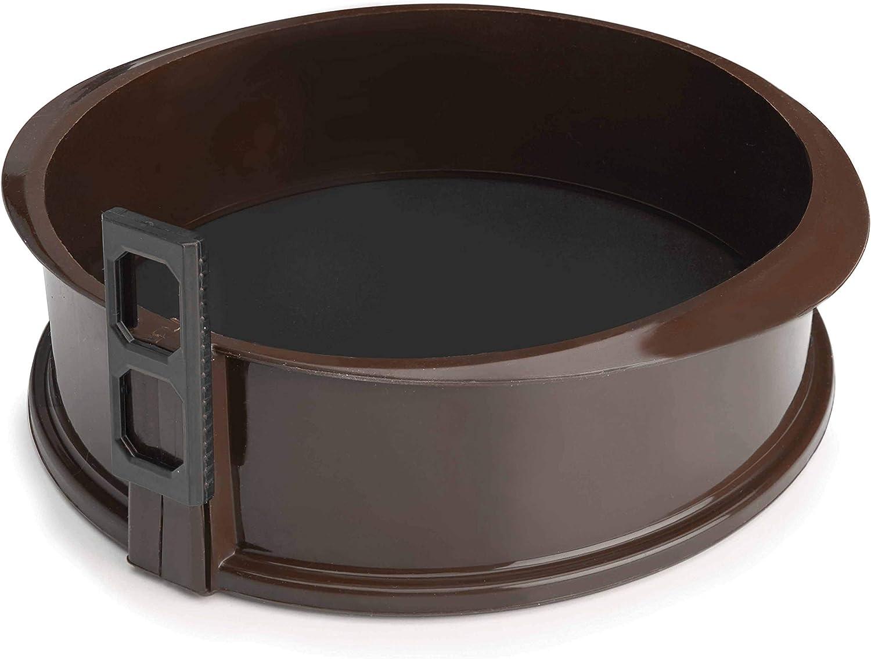 Lacor - 66775 - Molde Desmontable Redondo de Silicona, Molde de reposteria, Silicona alimentaria antiadherente, Cierre seguro, Ideal para Pasteles y Tartas, Base de cristal, 25 x 7,5cm, Marrón
