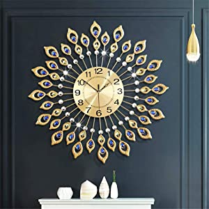 26.3 Inch Gold Large Wall Clocks for Living Room Decor,Elegant 3D Modern Wall Clock with Dial Arabic Numberals Non-Ticking Silent Big Wall Clocks,Diamond Round Home Decoration Kitchen Clocks
