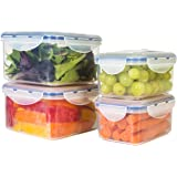 STOREFRESH FOOD CONTAINERS (8 Piece Set) - Plastic Containers with Lids & Vacuum Seal Technology, Vacuum Sealed Food Storage Lunch Tupperware Containers - Keep Food Ultra Fresh
