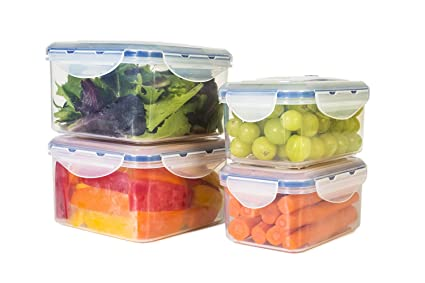 STOREFRESH FOOD CONTAINERS (8 Piece Set) - Plastic Containers with Lids u0026 Vacuum Seal  sc 1 st  Amazon.com & Amazon.com: STOREFRESH FOOD CONTAINERS (8 Piece Set) - Plastic ...