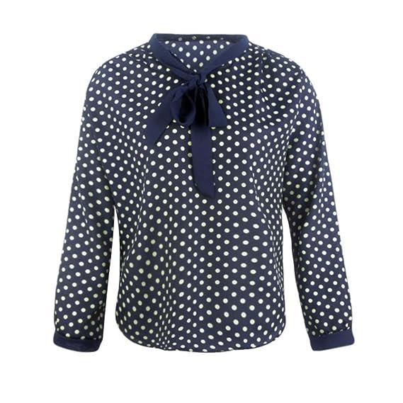Blusa de mujer, BaZhaHei, Camisa de gasa de manga larga con cuello en V