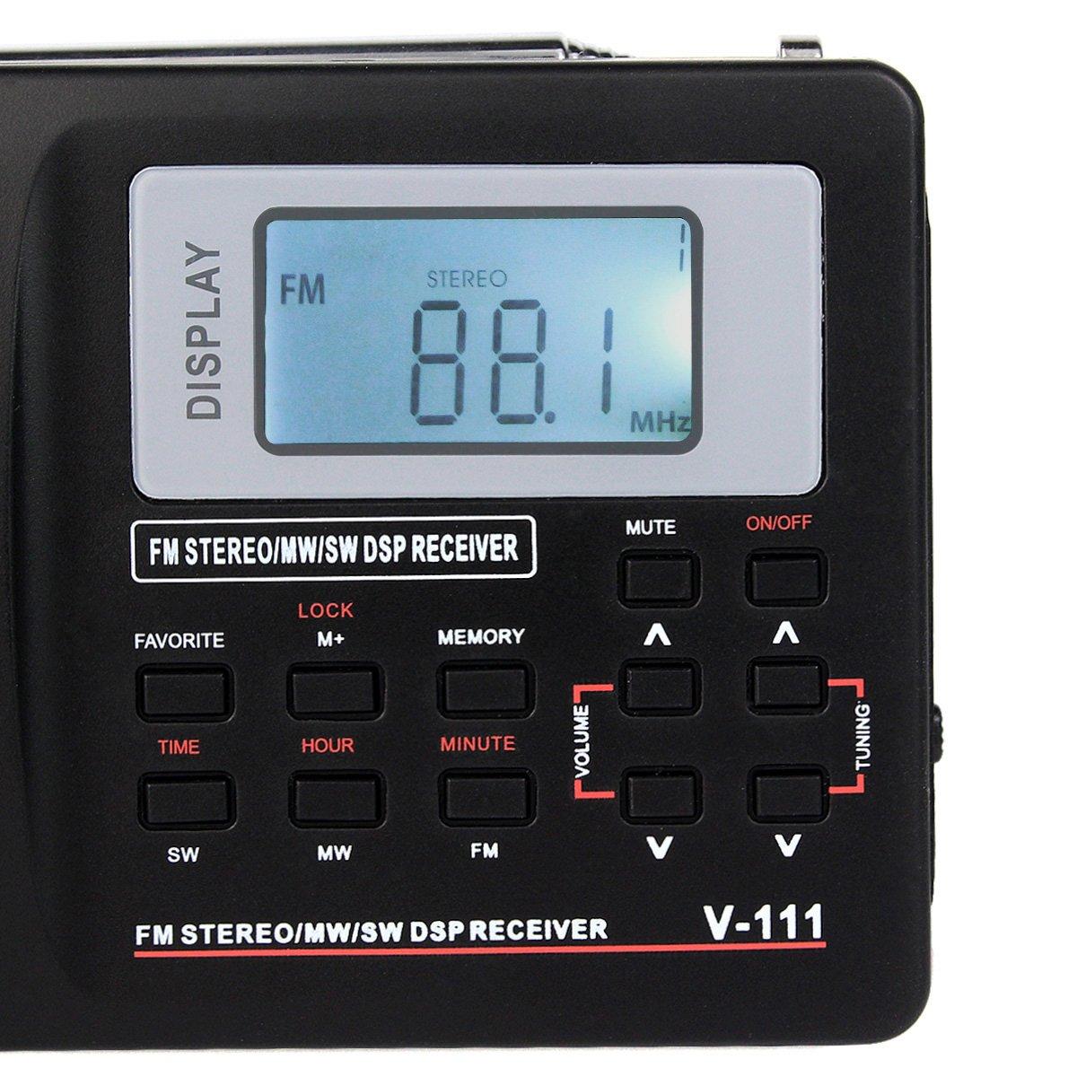 Amazon.com: TIVDIO V-111 Portable Shortwave Travel Radio AM/FM ...