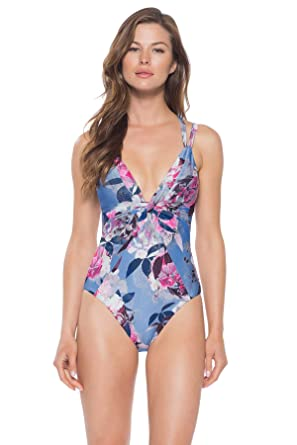 f8b0e0f1aab Becca by Rebecca Virtue Women's Twisted Shirring Plunge One Piece Swimsuit  Swimsuit Multi L at Amazon Women's Clothing store: