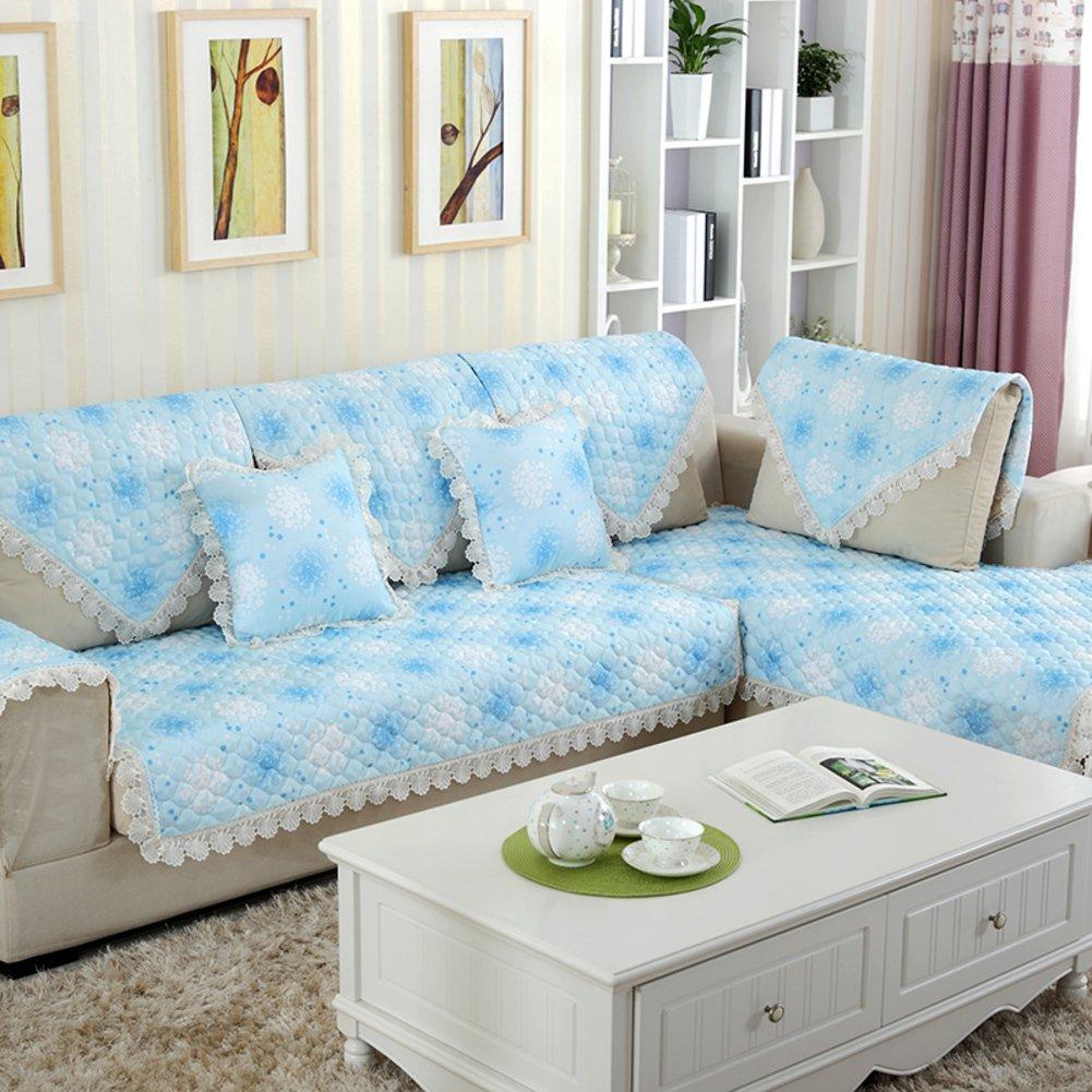 DHWJ Linen and Comfortable Sofa Cushion Fabric Slip Sofa Cushions Solid Wood Sofa Towel-A 110x110cm(43x43inch)