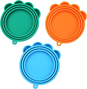 SLSON 3 Pack Pet Food Can Cover Universal Silicone Cat Dog Food Can Lids 1 Fit 3 Standard Size Can Covers,Blue,Green and Orange
