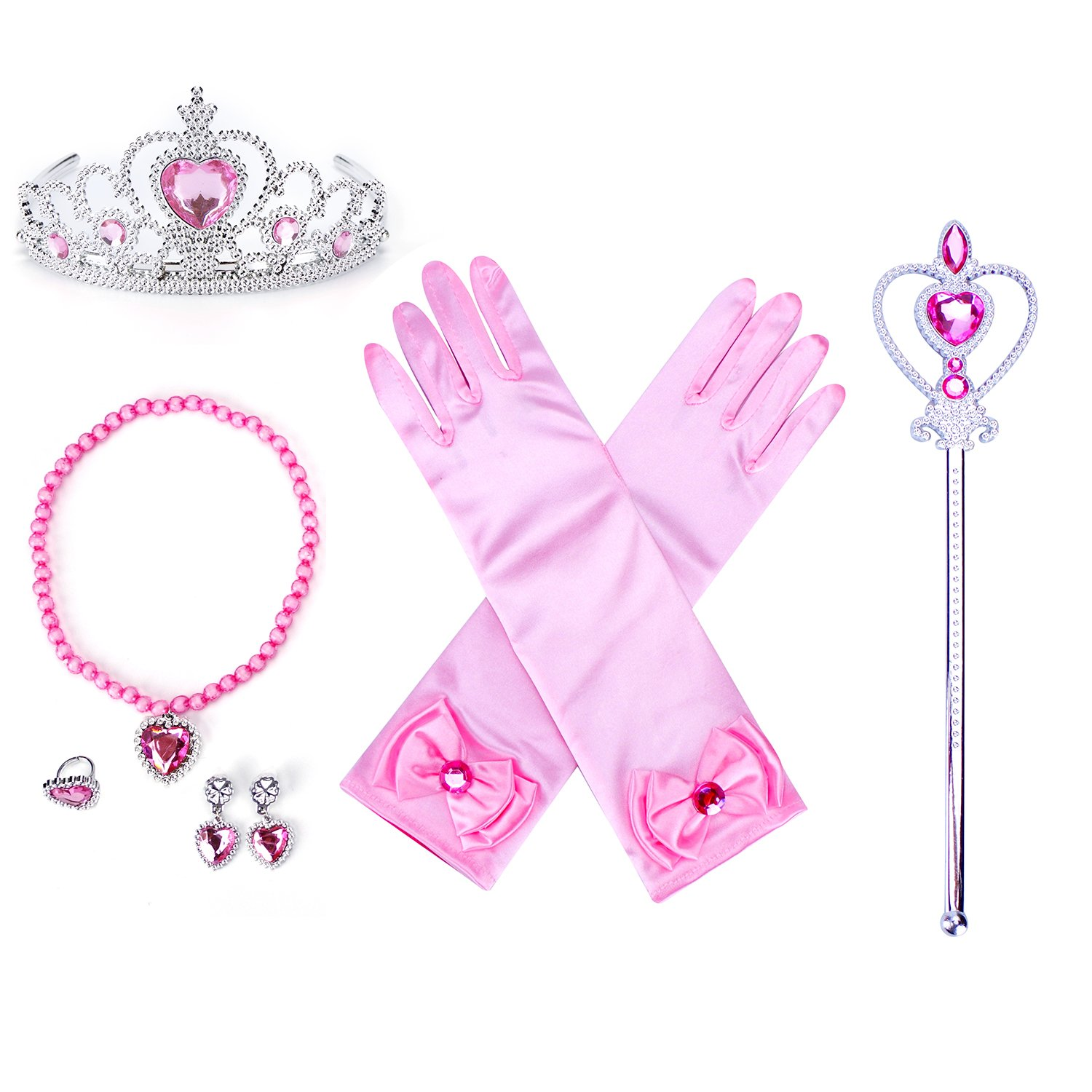 Amazon.com: 8 Pcs Girls Belle Princess Crystal Dress up with Gloves ...