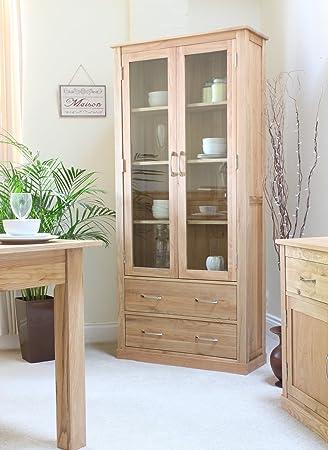 baumhaus mobel oak large glazed display cabinet baumhaus mobel oak large 6