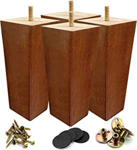 6 inch Wood Furniture Legs Rubber Wood Made Modern Pyramid Couch Leg for Sofa Pack of 4