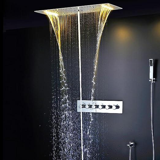 Tw Panel de espejo de SUS304 Set oculta ducha termostática con ...