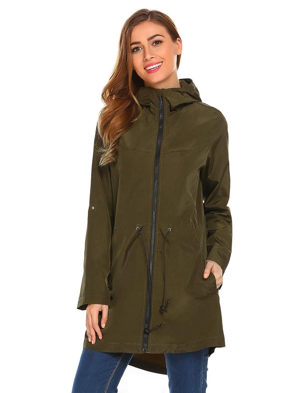 Meaneor Women's Waterproof Raincoat Lightweight Hooded Outdoor Pocket, S-XXL