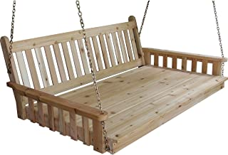 "product image for Outdoor 75"" Traditional Swing Bed - Mushroom Stain - Amish Made in USA"