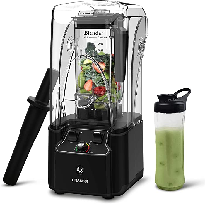 CRANDDI Blender, Quiet Shield Blender with 2200W Base, Professional High-Speed Countertop Blender, 80oz BPA-free Tritan Jar for Family/ Commercial Size Ice Crush, Smoothies and Shakes, 15-speeds Control & Built-in Pulse, KND-K90-B New