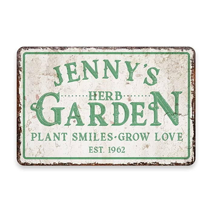 Personalized Vintage Distressed Look Herb Garden Metal Room Sign