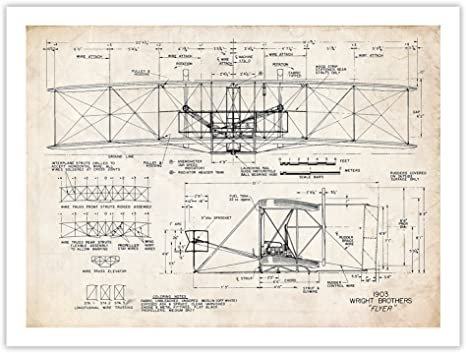 unframed WRIGHT FLYER FIRST AIRPLANE 1903 BLUEPRINT ART 18x24 POSTER BROTHERS