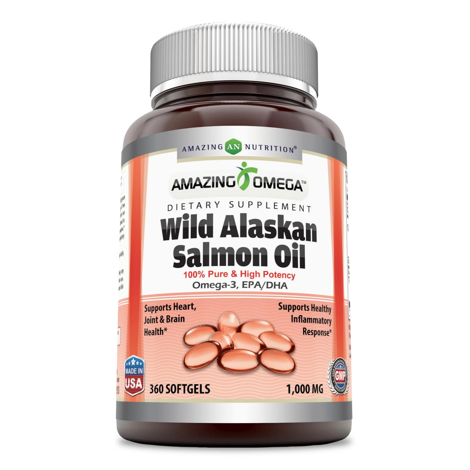 Amazing Omega Wild Alaskan Salmon Oil - 2000mg of Salmon Oil Per Serving, Softgels - Supports Heart, Joint & Brain Health and Promotes Healthy inflammatory Response (360 Softgels)
