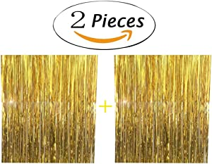 2pcs 3ft x 8.3ft Gold Metallic Tinsel Foil Fringe Curtains for Party Photo Backdrop Wedding Decor