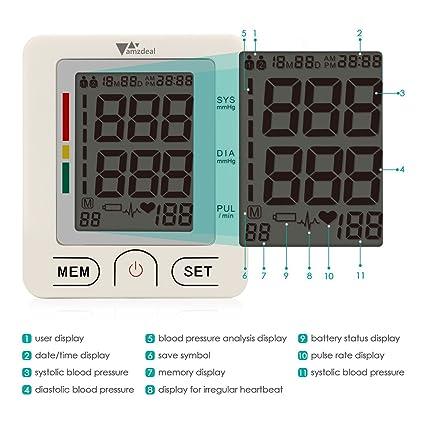 Amzdeal Tensiómetro de Muñeca Electrónico de Presión Arterial con Pantalla LCD, Monitor Digital de Presión Arterial con Medición de la Frecuencia Cardíaca: ...
