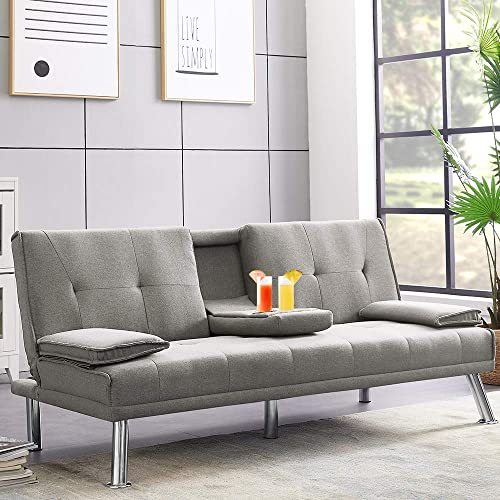 Convertible Futon Sofa Bed, Modern Sleeper Sofa with Removable Armrest and 2 Cup Holders, Fold Up Down Recliner Couch with 5 Metal Legs, Twin Size Sofa for Living Room Handpicked Fabric Light Grey