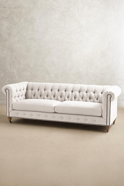 Belgian Linen Lyre Chesterfield Sofa, Wilcox - anthropologie.c​om