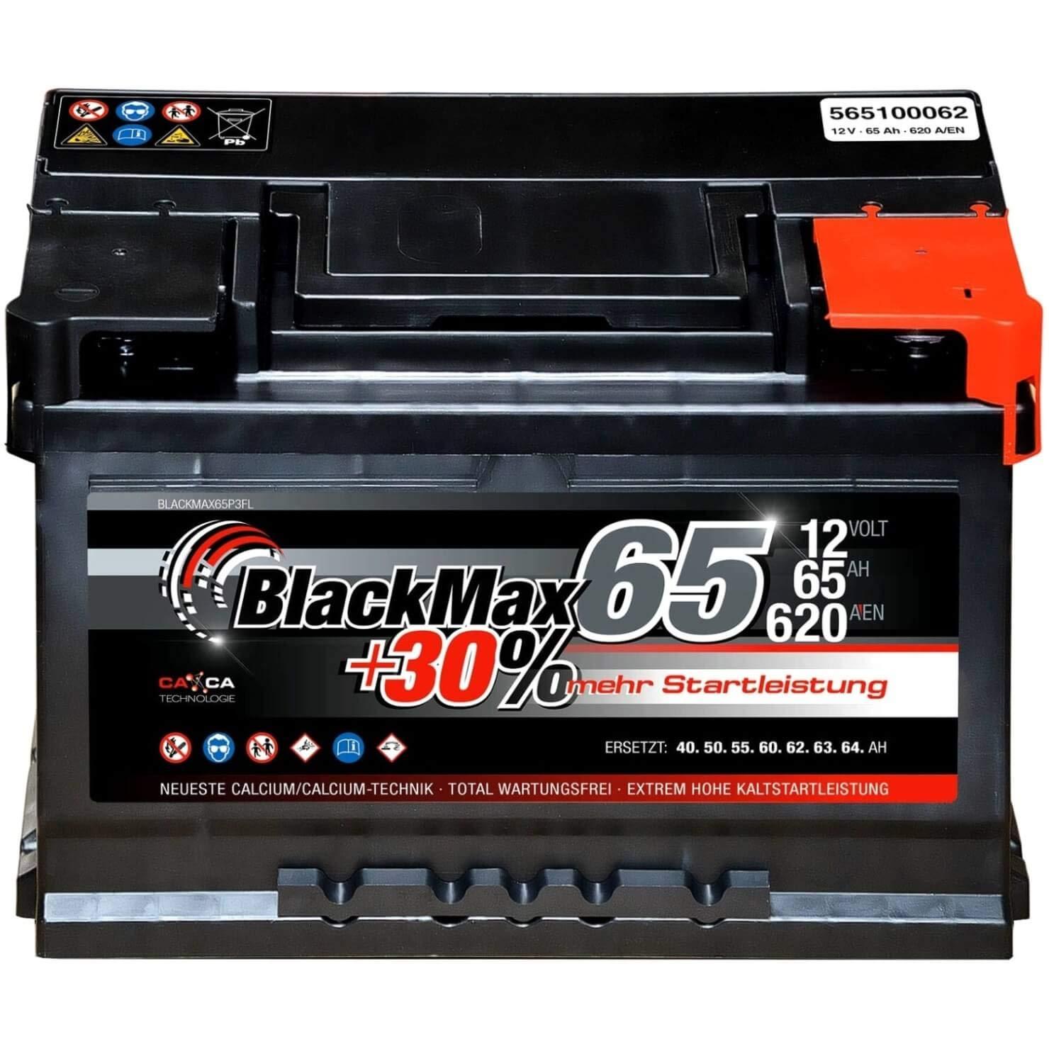 BlackMax Autobatterie 12V 55Ah PKW Batterie statt 44Ah 45Ah 50Ah inklusive Polfett