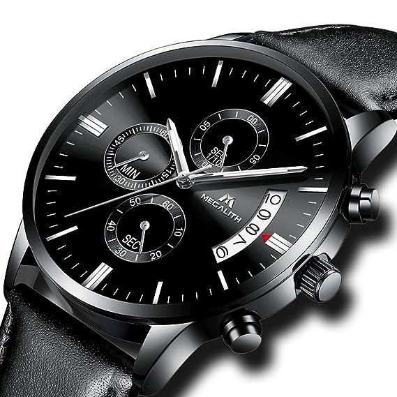 Relojes de Hombre Reloj Militar Deportivo Impermeable Lujo Cronógrafo Fecha  Calendario Relojes de Pulsera de Cuero Negro Casuales Analógico Cuarzo  ... 7f099ec2185e