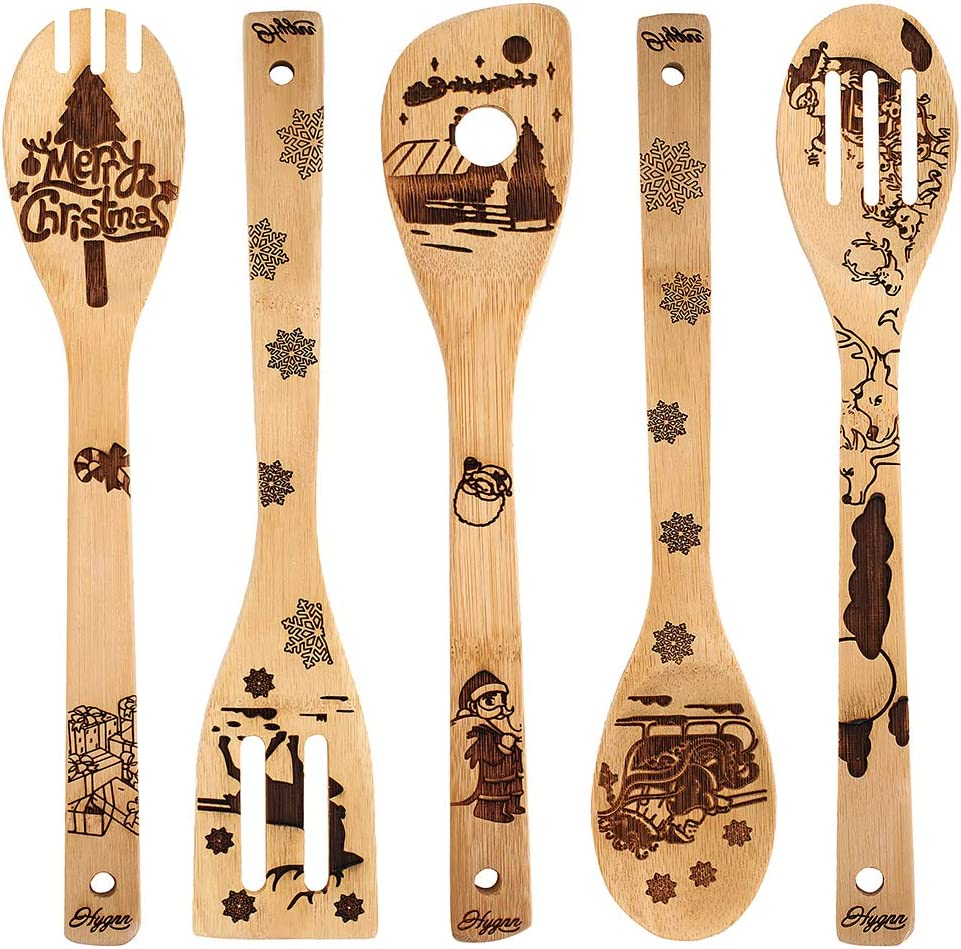 Christmas Gift Idea Utensil Burned Wooden Spoons Set House Warming Wedding New Year Present Slotted Spoon 5 Piece …