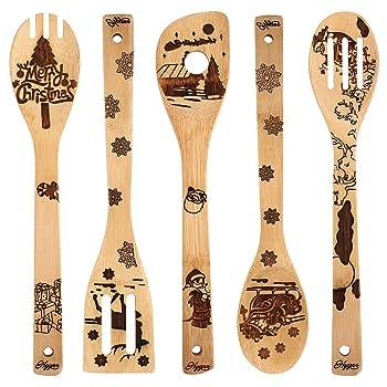 Utensil Burned Wooden Spoons Set