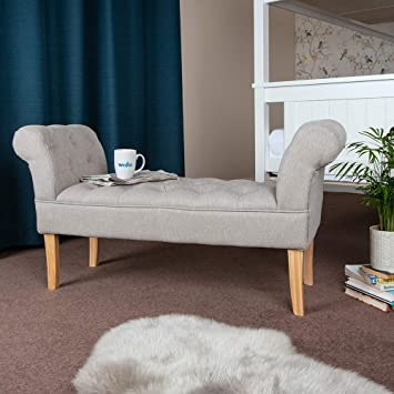Wido GREY LINEN END OF BED CHAISE LONGUE SOFA ARMCHAIR SEAT CHAIR ...