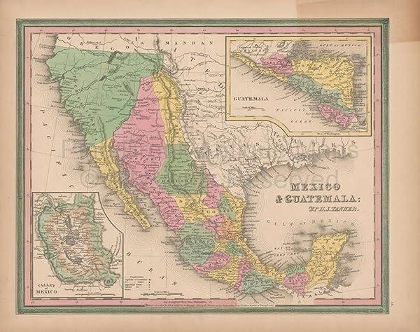 amazon com mexico vintage map tanner 1845 original mexican decor