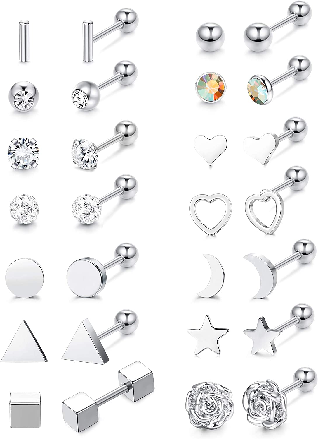Subiceto 14 Pairs Stainless Steel Barbell Stud Earrings for Men Women Cartilage Helix Earring Moon Star Rose Tragus Conch Ear Piercing Jewelry