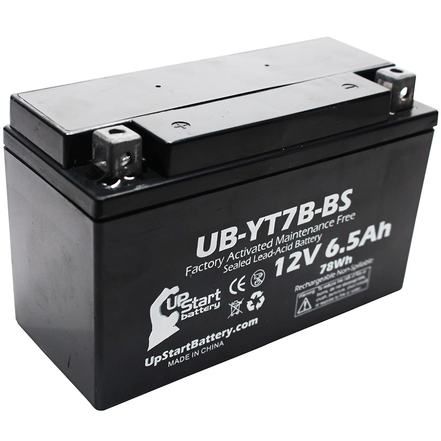 YT7B-BS Battery Replacement (6Ah, 12v, Sealed) Factory Activated, Maintenance Free Battery Compatible with - 2005 Yamaha YFZ450, 2006 Yamaha YFZ450, 2007 Yamaha YFZ450, 2008 Yamaha YFZ450 Upstart Battery