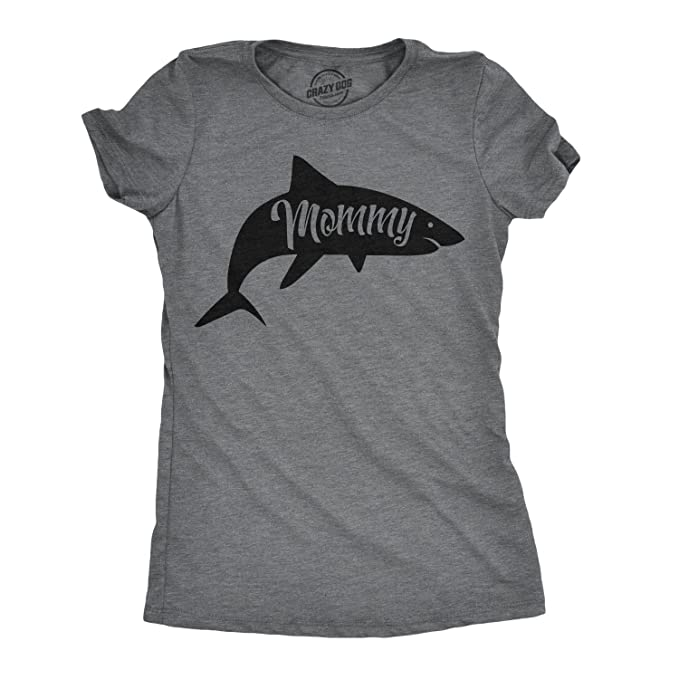 aaed7d31 Womens Mommy Shark Tshirt Cute Family Tee for Ladies (Dark Heather Grey) - S