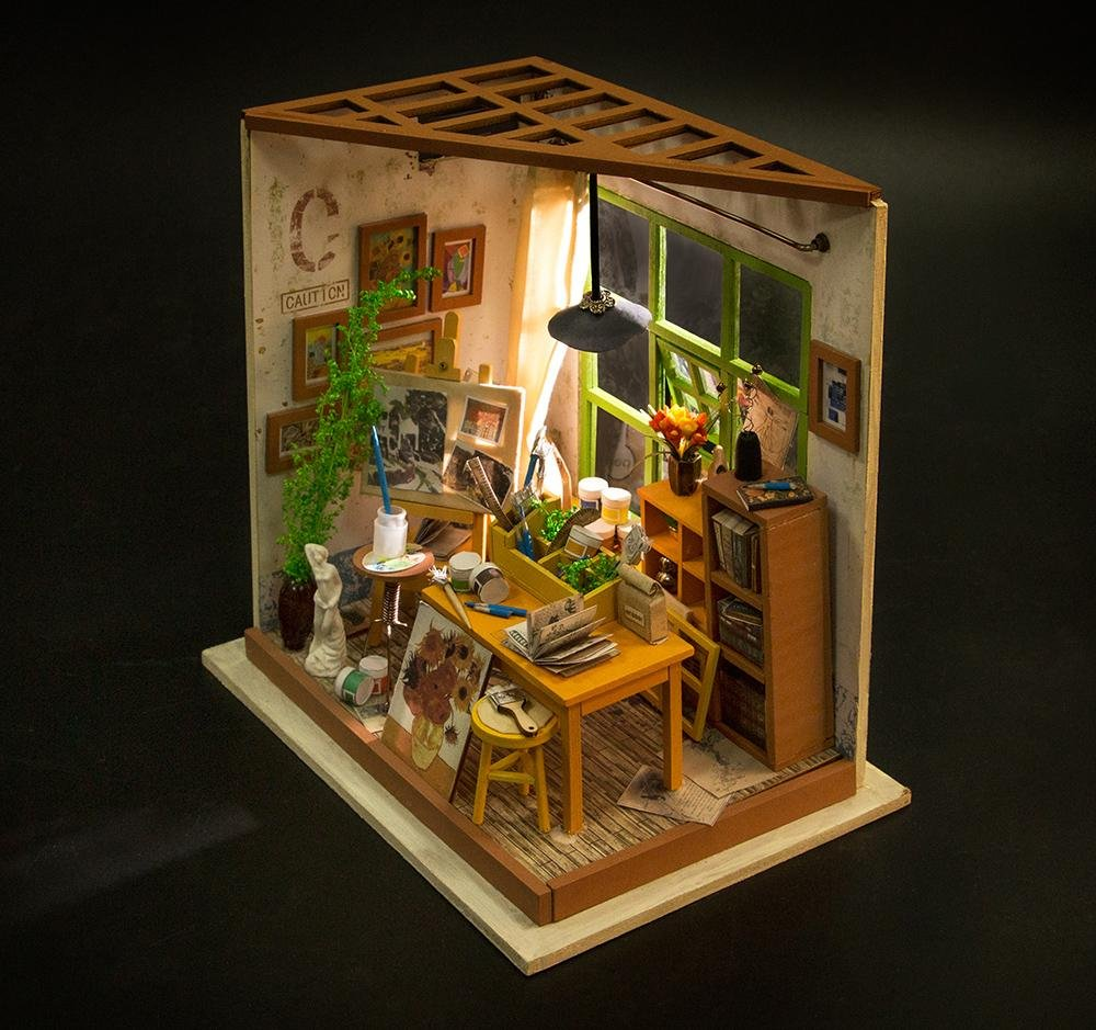 ROBOTIME Dollhouse DIY Kit Miniature Studio with Light DIY House Toy Gifts  for Adults and Teens