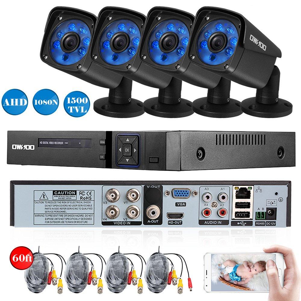 OWSOO 防犯カメラ セット 4CHフル1080N AHD DVR +4 * 720P赤外線弾丸カメラ(100万画素)+4 * 60ftケーブル P2P Onvif Android / iOS APP動き検出ナイトビジョンNTSCシステム日本語システム支持 AHD +アナログ+ TVI + CVI + XVI + IPC 6-in-1機能(HDDなし) B07416THCG  4*720P カメラ 4CH