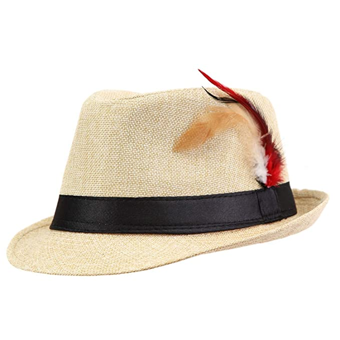 8902ef1b Trendy Unisex Side with Feathers Fedora Trilby Gangster Cap for Women  Summer Beach Sun Straw Panama Hat Beige at Amazon Women's Clothing store: