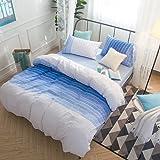 Merryfeel Cotton Duvet Cover Set, 100% Cotton Woven Seersucker Stripe Bedding Set, 3 Pieces (1 Duvet Cover with 2 pilowshams)