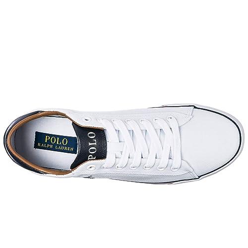 Polo Ralph Lauren Zapatos Zapatillas de Deporte Hombres en algodón Harvey Blanco EU 45 816190758EAD: Amazon.es: Zapatos y complementos