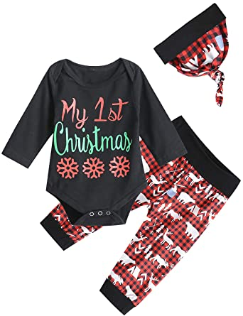 6a677b7bc1d0 Amazon.com  Christmas Outfit Set Baby Boy My First Christmas Plaid Romper   Clothing