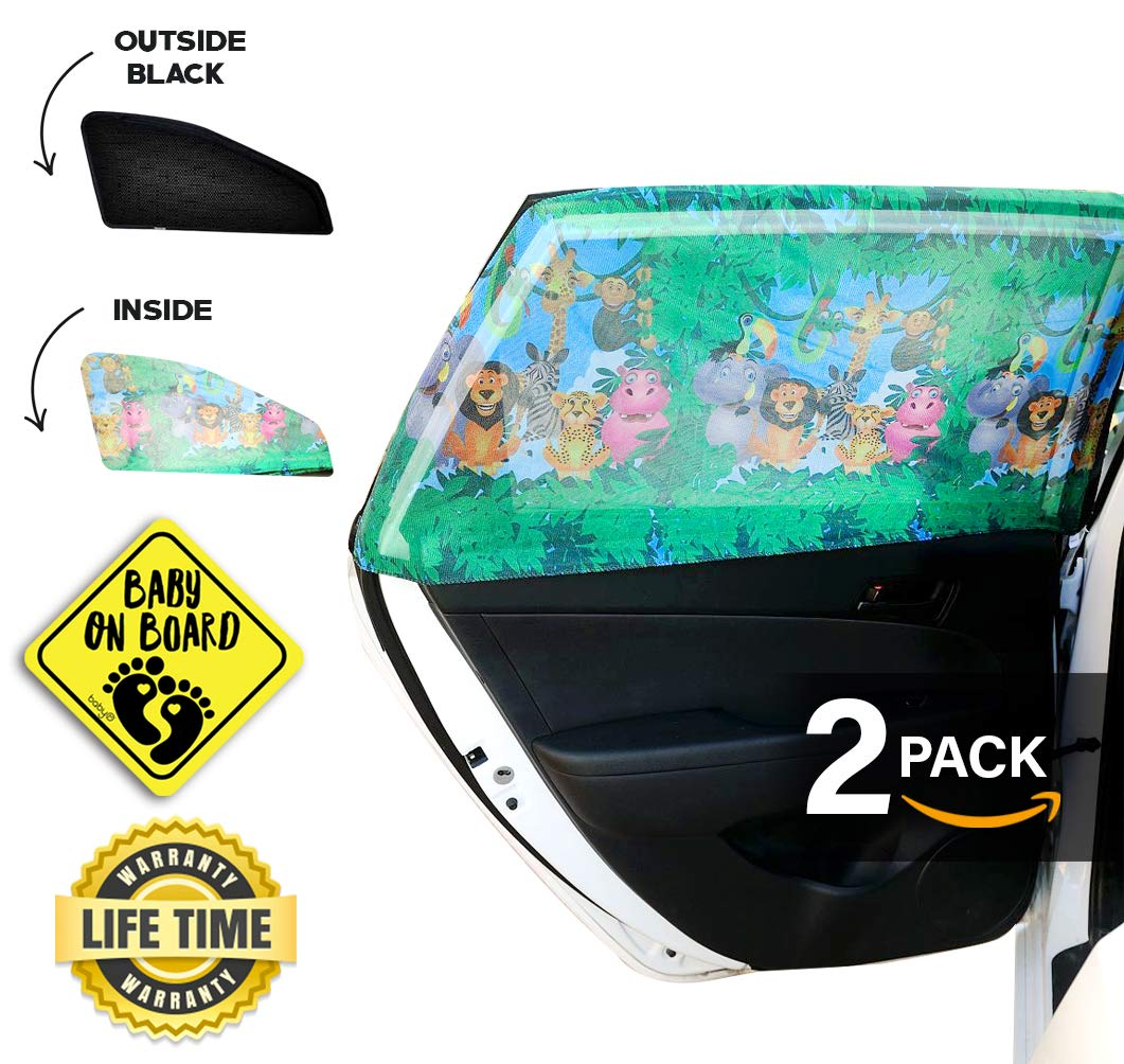 CAR Side Window Sun Shade (2 Pack)   Protects Your Babies and Kids from The Sun/UV Rays by up to 98%   Fits Most Models,NOT for Big SUV   Baby ON Board CAR Sign Included(Jungle)