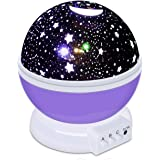 KOKO Baby Gifts Star Sky Night Lamp 360 Degree Rotation Romantic Rotating Cosmos Star Sky Moon Projector 4 LED Beads,9 Light Color Changing With 4.9 FT (1.5 M) USB Cable Night Light for Kids Bedroom