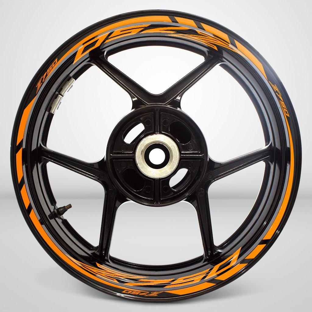 Gloss Arancione Ruote Moto Cerchione Decalcomanie Accessorio Adesivi per Kawasaki Z750