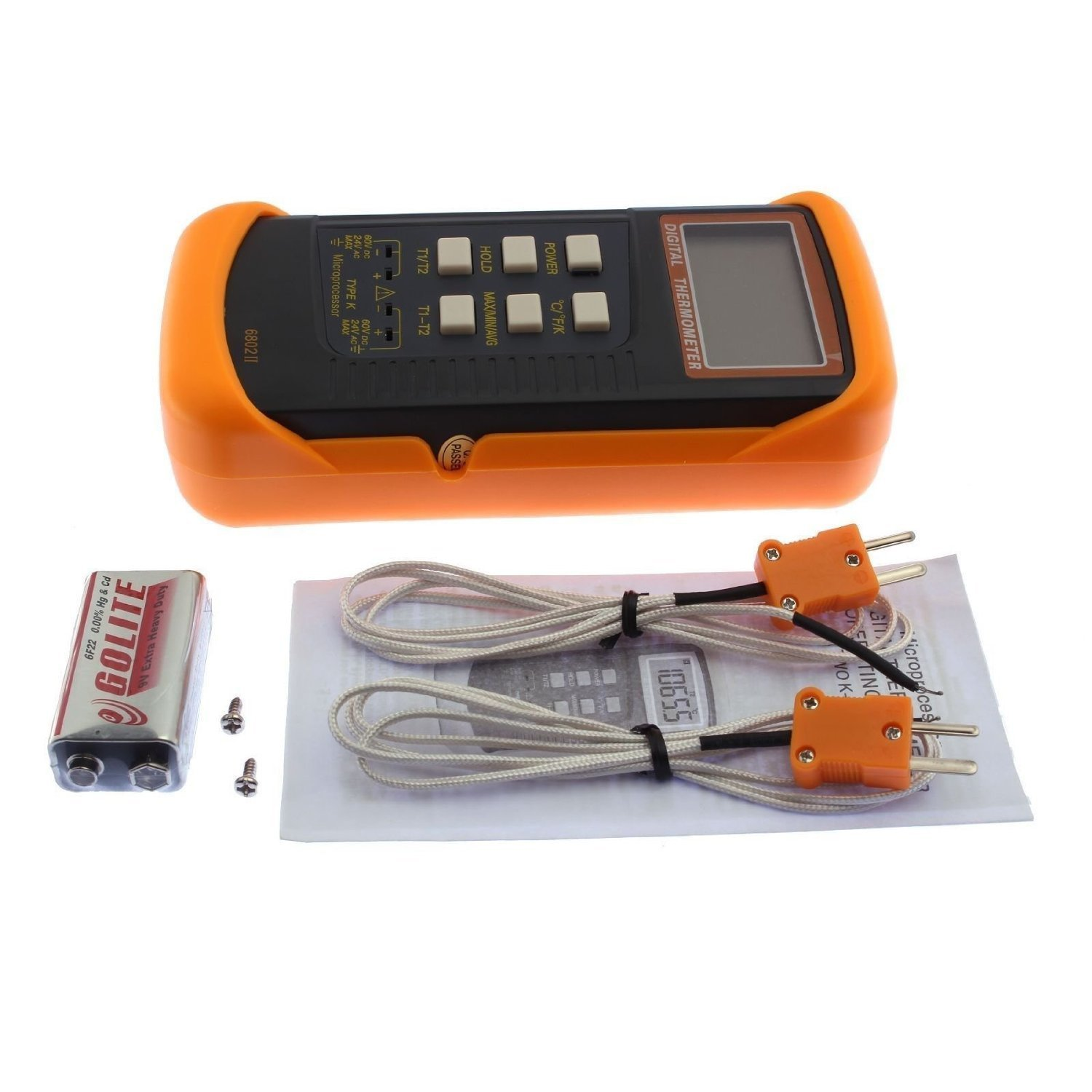 Signstek 3 1/2 6802 II Dual Channel Digital Thermometer -58°F~1022°F(-50~1300°C) with 2 K-Type Thermocouple Sensor Probe by Signstek (Image #1)