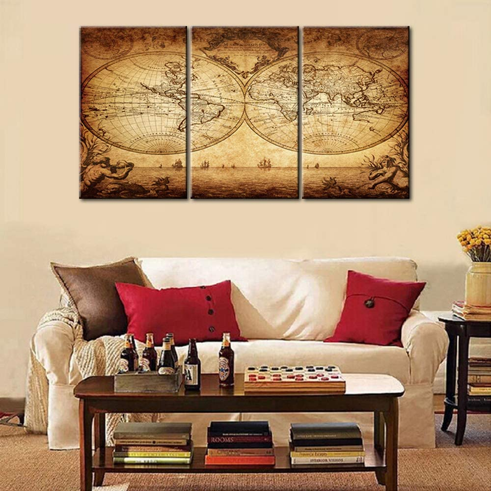 3 Piece Prints Wall Art for Bedroom Brown Vintage Paintings on Canvas Antique Historical Map Pictures Giclee Ocean Scape Artwork Modern House Decorations Framed Stretched Ready to Hang (48''Wx24''H)