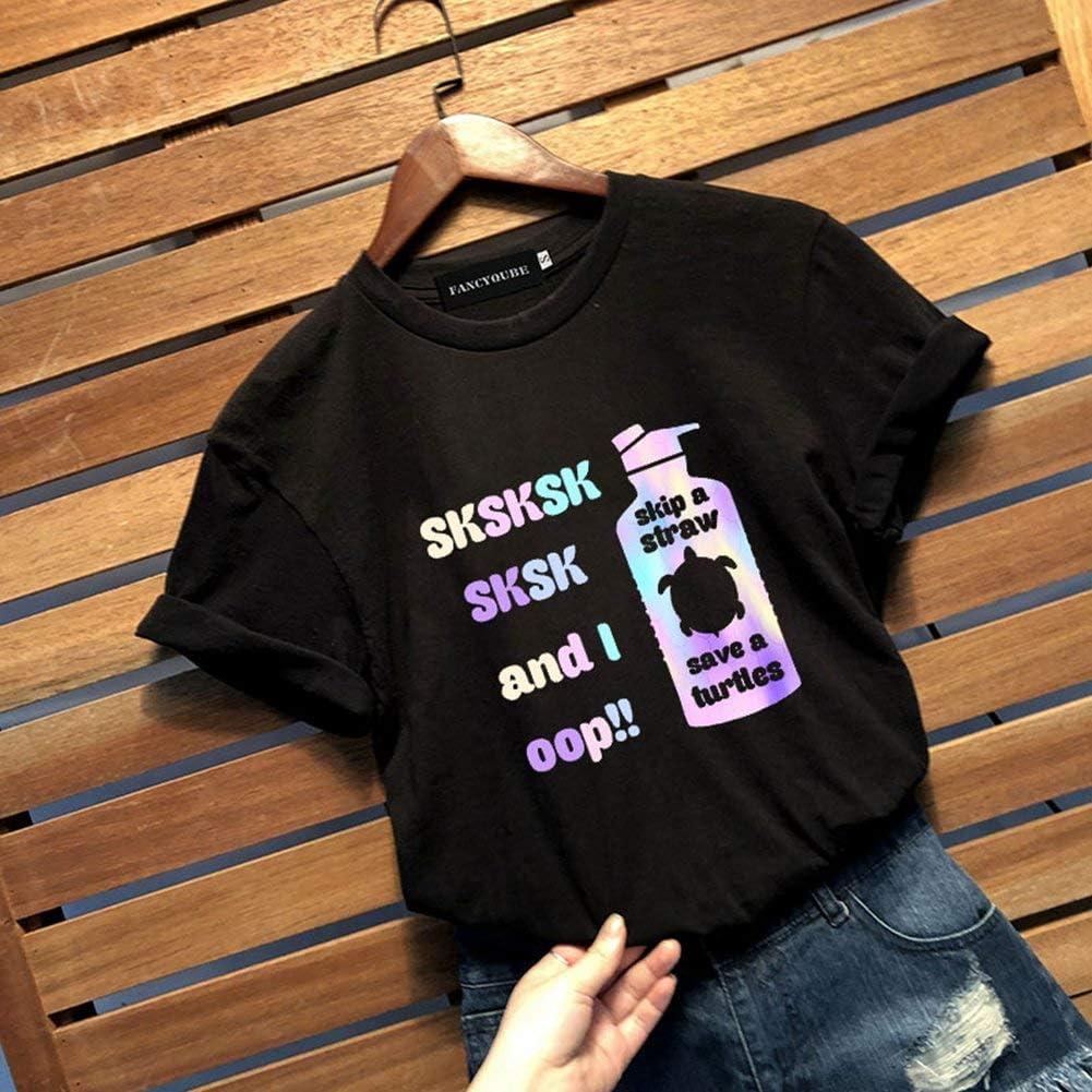 Dady Bug T-Shirt pour Femme Sksksk Skip A Straw Save A Tortle Filles and Women Ocean Sunrise Graphic Cadeau d/écontract/é /à Manches Courtes Sport Tee