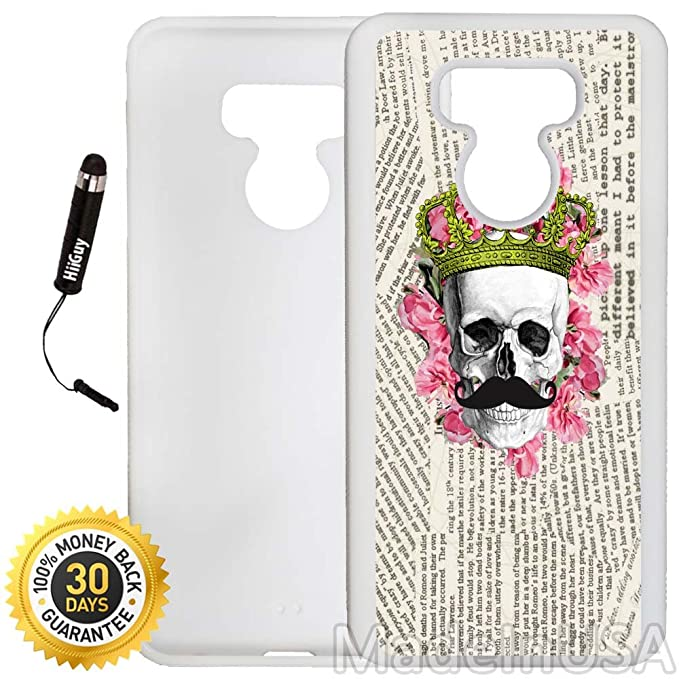 7e371b0c6405 Amazon.com  Custom LG G6 Case (King Skull Floral Mustache) Edge-to-Edge  Rubber White Cover Ultra Slim