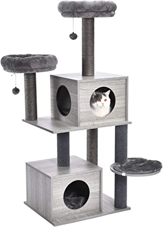Pawz Road Cat Tree Modern Cat Wood Furniture Featuring 2 Super Large Condos Sturdy Scratching Posts Dangling Balls And Soft Perches 55 Inches Amazon Ca Pet Supplies