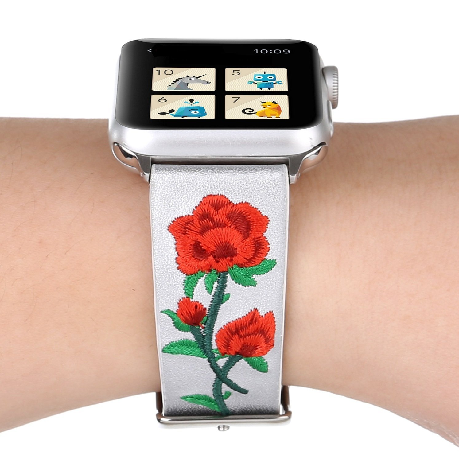 Juzzhou Watch Band For Apple Watch iWatch Series 1/2/3 Sport Edition Leather Embroid Flower Replacement Bracelet Wristband Wriststrap Wrist Strap With Metal Adapter Clasp Woman Lady Girl White 38mm