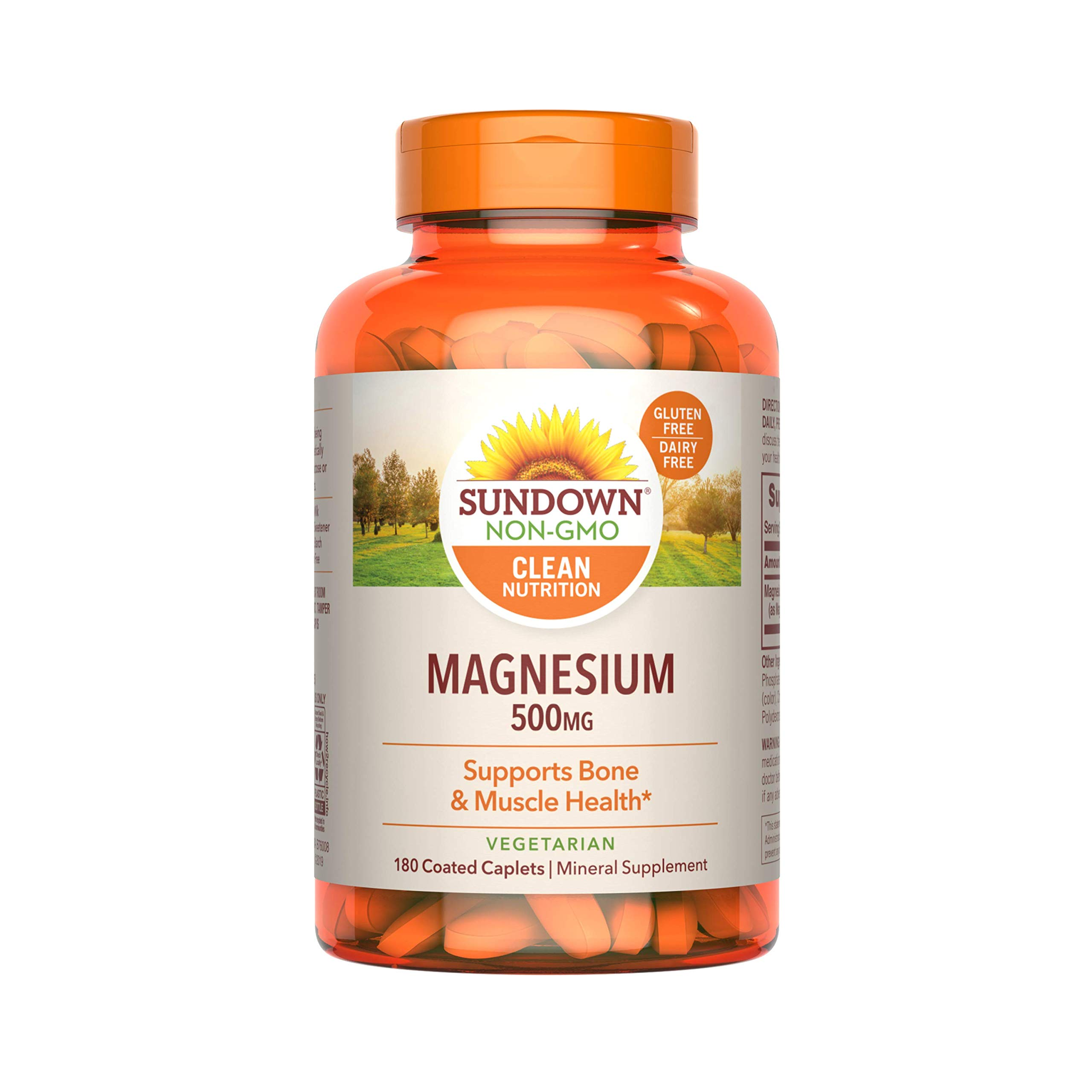 Sundown Magnesium Supplement, Non-GMOˆ, Gluten-Free, Dairy-Free, Vegetarian, 500mg Coated Caplets, 180 Count, 6 Month Supply