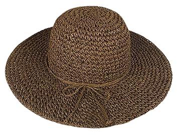 ZUMUii Butterme Fashion Mujer Verano Paja Parasol de ala Ancha Grande  Floppy Fold Playa Sombrero de 51819f64e27